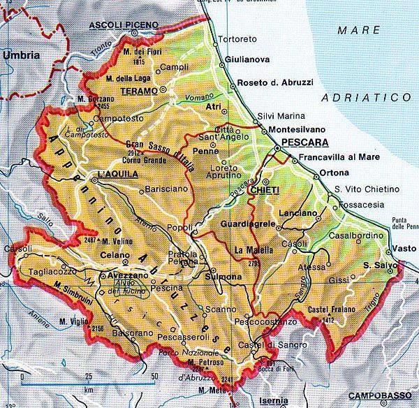 Cartina Geografica Molise Mare.Cartina Geografica Dell Abruzzo Mappa